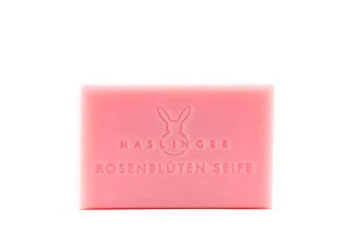 Haslinger Rosenblüten Seife hochwertige Pflanzenölseife mit Rosenwasser 100 g