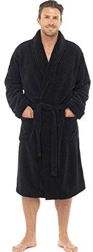 Mens Knee Length Fleece Wrapover Dressing Gown, Black, Medium