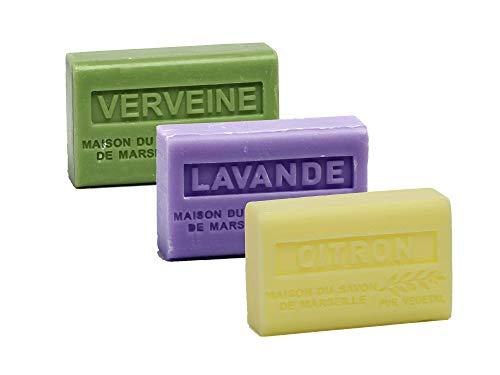 Maison du Savon de Marseille - 3er-Set Provence-Seifen mit Sheabutter - Verveine, Lavendel, Zitrone...