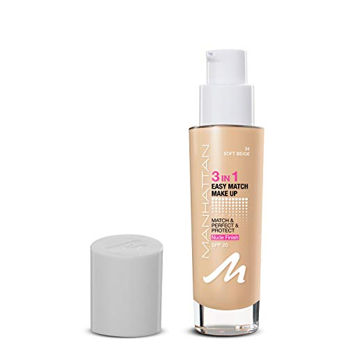 Manhattan 3in1 Easy Match Make-up, Flüssig Foundation für helle Haut mit LSF 20, Farbe Soft Beige...