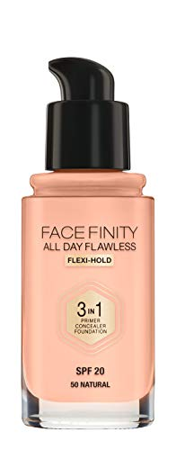 Max Factor Facefinity All Day Flawless 3 in 1 Foundation in Natural 50 – Primer, Concealer &...