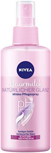 NIVEA Haarmilch Natürlicher Glanz Mildes Pflegespray (150 ml), Anti-Frizz-Spray mit Milch- &...