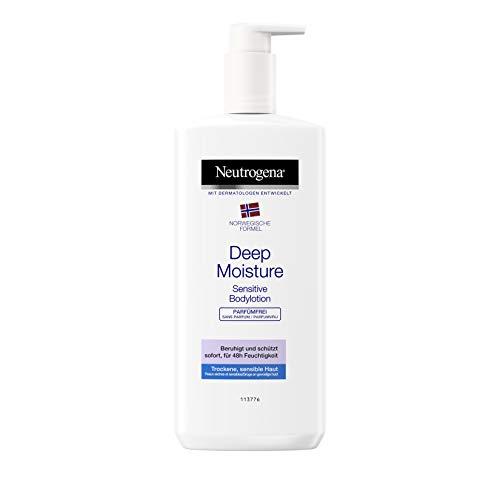 Neutrogena Deep Moisture Bodylotion Sensitive, Norwegische Formel, Körpercreme parfümrei, Trockene...