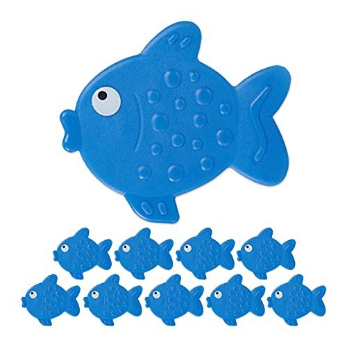 Relaxdays 10 x Antirutsch Sticker Badewanne, Fisch-Design, Badewannenaufkleber mit Saugnäpfen, für...
