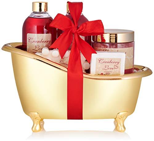 BRUBAKER Cosmetics Bade- und Dusch Set Cranberry Love - 6-teiliges Geschenkset in goldener...