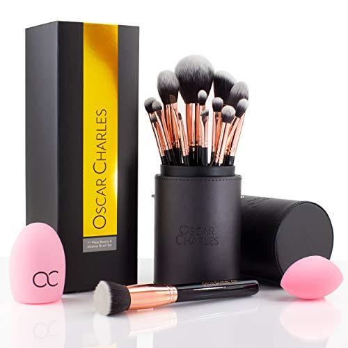 Oscar Charles Professionelles Make-up-Pinsel-Set: 17-teilig: mit Beauty Blender, Pinselreiniger,...