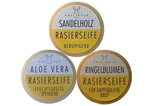 3er Set Haslinger Rasierseife, Sandelholz, Ringelblume, Aloe Vera & Rasierklingen Checkliste