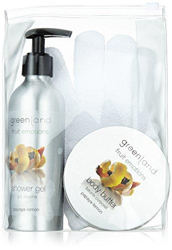 Greenland Geschenke Set: Scrub glove shower gel 200 ml with pump & body butter 120 ml, papaya-lemon