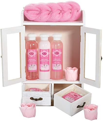 BRUBAKER Cosmetics - 10-teiliges Bade- und Pflege Set Geschenkset - Kirschblüten & Reismilch -...