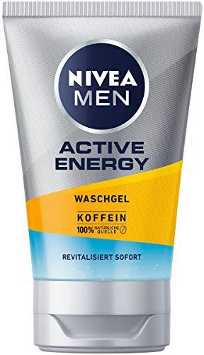 NIVEA MEN Active Energy Waschgel (100 ml), Reinigungsgel mit Koffein aus 100% natürlicher Quelle,...