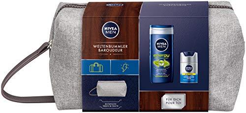 NIVEA MEN Weltenbummler Geschenkset, Kulturtasche für Männer mit Pflegedusche und Gesichtspflege...