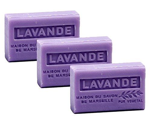 Maison du Savon de Marseille - 3er-Set Provence-Seifen mit Sheabutter - Lavendel (Lavande) - 3 x 125...