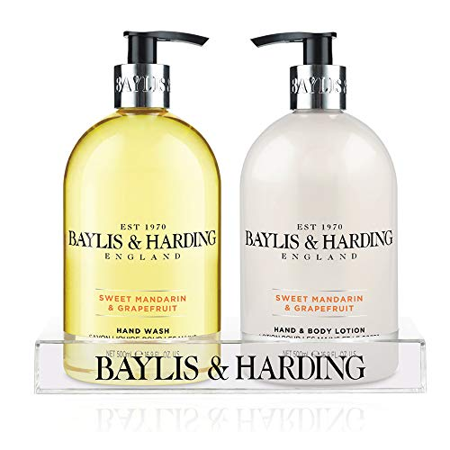 Baylis & Harding Mosaic Bottle Hand Wash and Hand Lotion Set 2 x 500 ml in Clear Stand