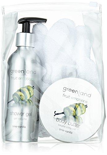 Greenland Geschenke Set: Scrub glove, shower gel 200 ml with pump & body butter 120 ml, lime-vanilla