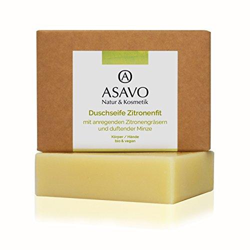 ASAVO Premium Naturseife Zitronenfit BIO, handgeschöpfte Naturseife, mit Bio-Karitébutter & dem...