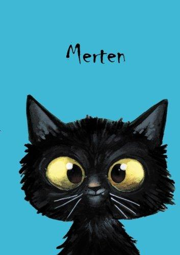 Merten: Personalisiertes Notizbuch, DIN A5, 80 blanko Seiten mit kleiner Katze auf jeder rechten...