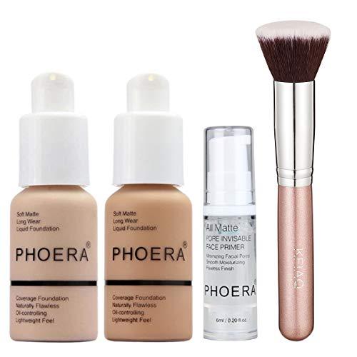 PHOERA 30ml Concealer Cover Flüssigmatt Full Coverage Concealer (Nude & Buff Beige) mit Make up...