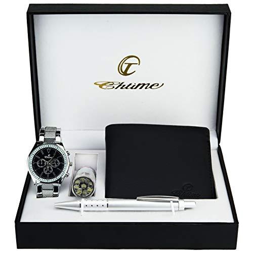 Geschenkset Herren Armbanduhr Schwarz -  Taschenlampe  LED - Brieftasche -Stift