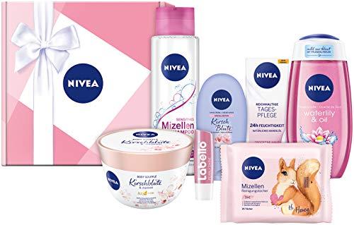 NIVEA Geschenkbox Rosa, Pflegeset mit Shampoo, Reinigungstüchern, Tagespflege, Pflegedusche und...