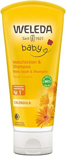 WELEDA Baby Calendula Waschlotion & Shampoo, Naturkosmetik schonendes Duschgel für Babyhaut- und...