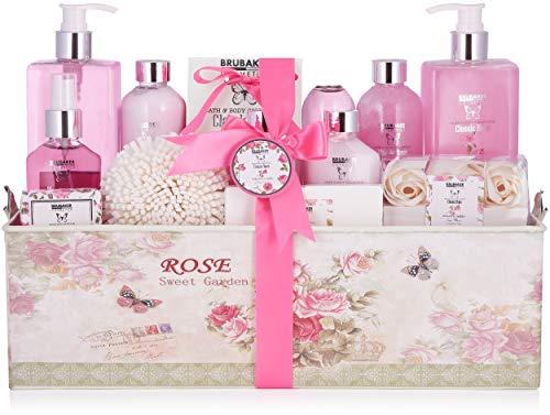 BRUBAKER Cosmetics Bade- und Dusch Set Rosen Duft - 17-teiliges Beauty Geschenkset in Vintage...