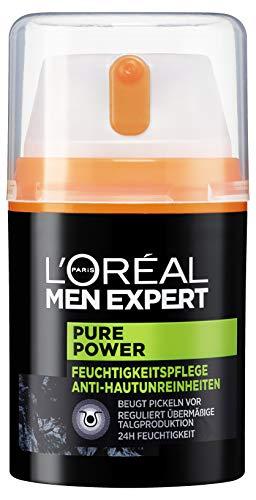 L'Oréal Men Expert Pure Power Feuchtigkeitspflege, Bekämpft Hautunreinheiten wie Mitesser, Akne...
