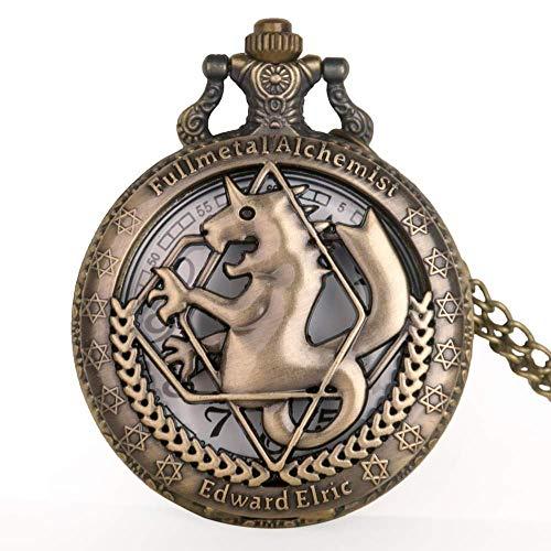GHJA Hot Saling Bronze Vollmetall Taschenuhr Vintage Kettenuhren Halskette Anhänger Quarz Uhr...