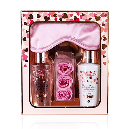 Accentra Geschenkset Heart Cascade - Beautyset mit Schlafmaske, Pflegedusche, Bodylotion und...