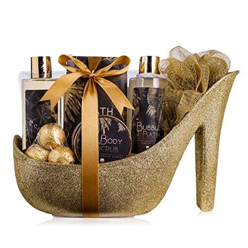 accentra Luxury Badeset Geschenkset in wunderschönem goldenem Glitzer Pumps, 9-teiliges Luxus...