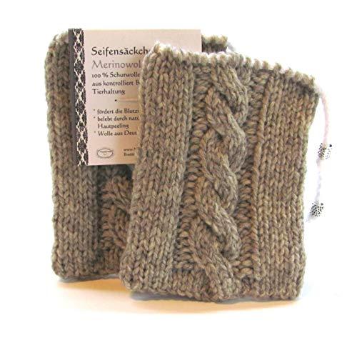 Seifensäckchen Seifenschwamm für Naturseife aus Merinowolle,grau meliert