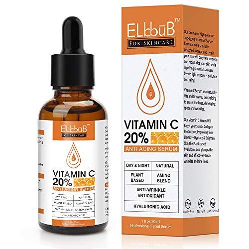 Vitamin C Serum - 20% Vitamin C, Hyaluronsäure - Anti-Aging durch Feuchtigkeitspflege für Anti...