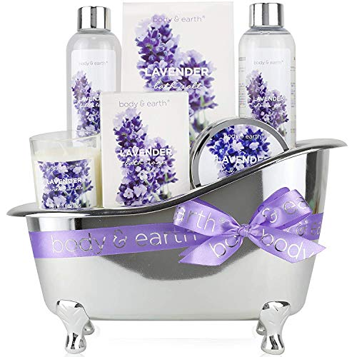 Wellness Set für Frauen - Body & Earth 7 pcs Lavendel Geschenkset für Frauen mit Duschgel,...