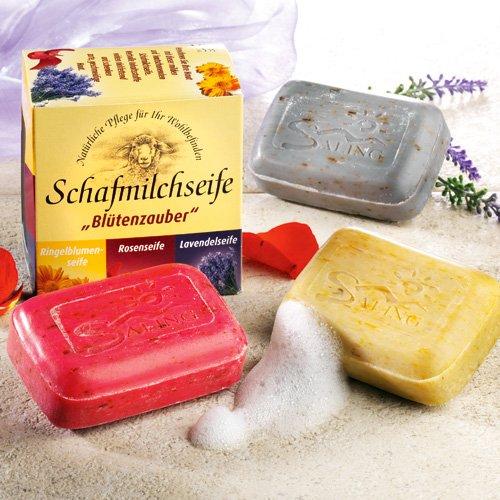 Saling Geschenkset Schafmilchseife 'Blütenzauber' 3 x 100 g