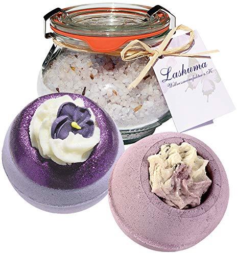 Lashuma Geschenkset Badezusatz Lavendel: 2 x Badebombe - 1 x Badesalz Lavendel im Weck Glas,...
