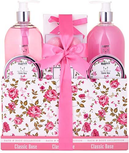 BRUBAKER Cosmetics Bade- und Dusch Set Rosen Duft - 13-teiliges Beauty Geschenkset in Vintage...