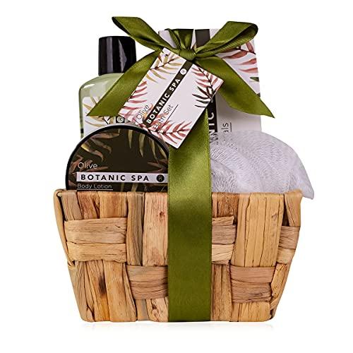 accentra Geschenkset OLIVE SPA im Seegraskorb, Bade-Set und Dusch-Set - 5-teiliges Geschenk-Set in...