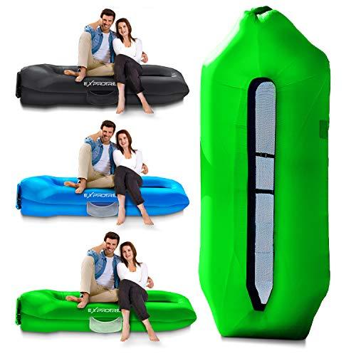 Exprotrek Aufblasbare Air Lounger Pool Sofa Luftsofa, Green, large
