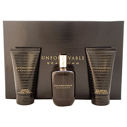 Sean John Unforgivable For Men 3-teiliges Geschenkset 120 ml Eau de Toilette Spray, 96 ml Duschgel,...