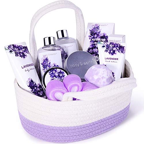 Lavendel Bad Geschenkkorb, Body & Earth 11-tlg. Körperpflegeset, Wellness Set für Frauen,...