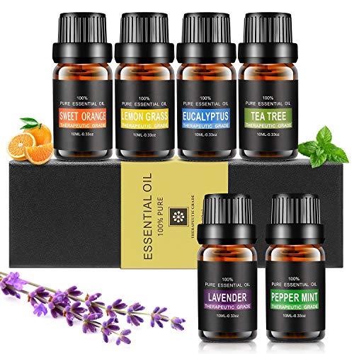 Ätherische Öle Set, Aiemok 6 x 10ml Aromatherapie Duftöl Set, 100% Bio Naturrein Aroma-Öl für,...