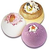 Lashuma Badebomben Set, 3 Badekugeln Honig Biene, Eiscreme, Lavendel im Badeset, 3x 160 g