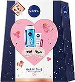 NIVEA Happy Time Geschenkset, Set mit Schlafmaske, Tagespflege, Pflegedusche und Labello,...