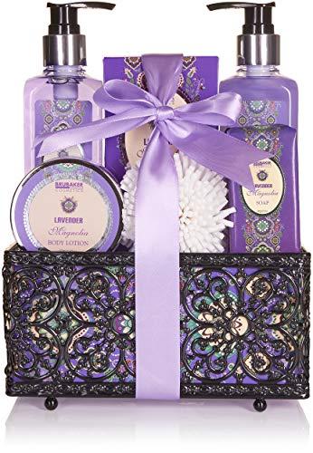 BRUBAKER Cosmetics Bade- und Dusch Set Lavendel Magnolien Duft - 7-teiliges Geschenkset in...