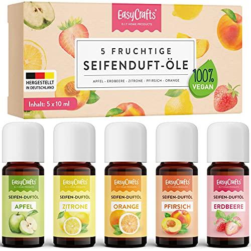 EasyCrafts® Seifenduftöl Bio - Seifenduftöl Set aus 5 x 10 ml fruchtige Düfte zum Seife selber...