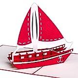 XXL 3D-Pop-Up-Karte mit Segelschiff/Katamaran z.B. als Reise-Gutschein, Wellness-Urlaub, Verpackung...