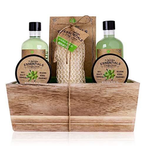 Accentra Geschenkset OLIVE im Holzkorb Bade-, SPA und Dusch Set Olive Duft – 6-teiliges Geschenk...