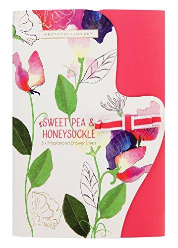 Heathcote & Ivory Sweet Pea & Honeysuckle Duftende Schubladeneinlagen, Papier, 5er Pack, mehrfarbig,...