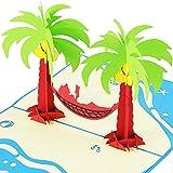 3D-POP-Up-Karte mit Palmen & Hängematte XXL zum Beispiel als Reise-Gutschein, Wellness-Urlaub,...