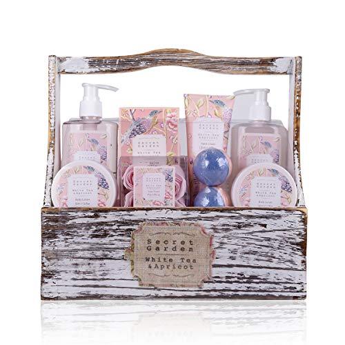 Accentra Geschenkset Secret Garden Bade Und Dusch Set Mit White Tea & Apricot Duft - 8-Teiliges...