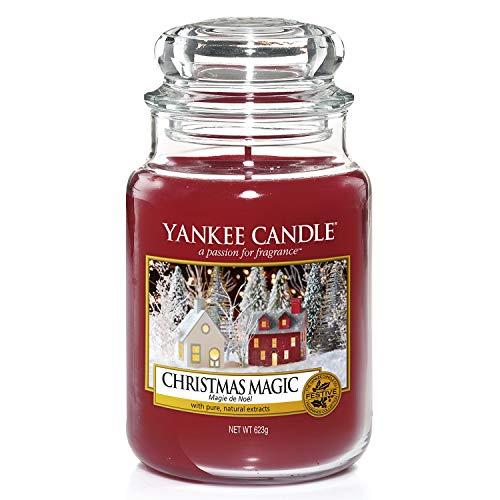 Yankee Candle Classic Glaskerze Christmas Magic, rot, 10,7 x 10,7 x 16,8 cm